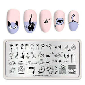 BORN-PRETTY-Nail-Stamping-Plates-Cute-Cats-Nail-Art-Image-Template-Animal-Design