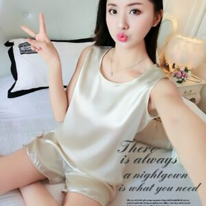 384dad36d3b Lady Satin Faux Silk Shorts Camisole Tank Tops Pajamas Sleepwear ...