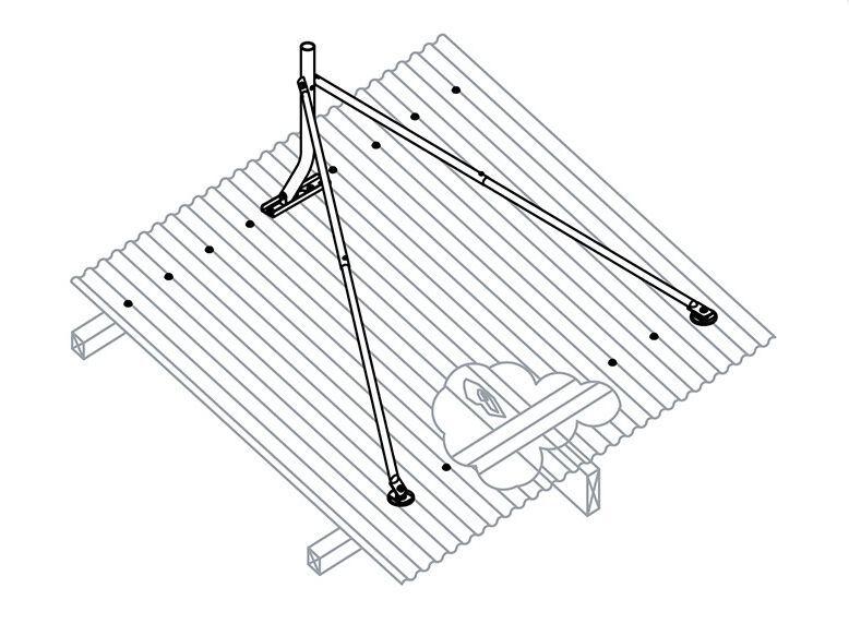 Iron Metal Tin Roof Tripod Flexi Mount For Satellite Dish Tv Ku