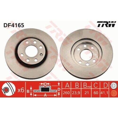 2 Bremsscheibe TRW DF4165 für OPEL VAUXHALL CHEVROLET Vorderachse