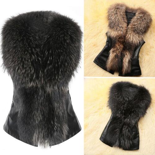 Fashion Womens Sleeveless Waistcoat Gilet Faux Fur Vest Coat Jacket PU Leather