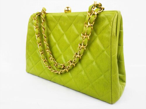 100%Auth CHANEL Vintage Hand Bag Chain Lime green