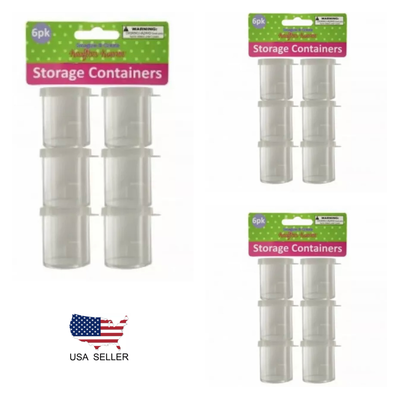 """18 pc 1.6""""x1.75"""" Plastic Storage Containers w// LIDs CRAFT STORAGE CONTAINER"""