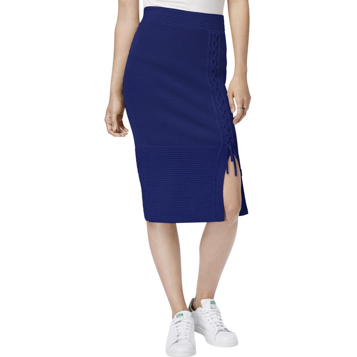 Rachel Roy Womens bluee Iris Lace Up Sweater Knit Pencil Skirt S
