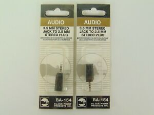 Audio-3-5mm-Stereo-Jack-to-2-5mm-Stereo-Plug-Adapter-Lot-Of-2-NEW-SEALED