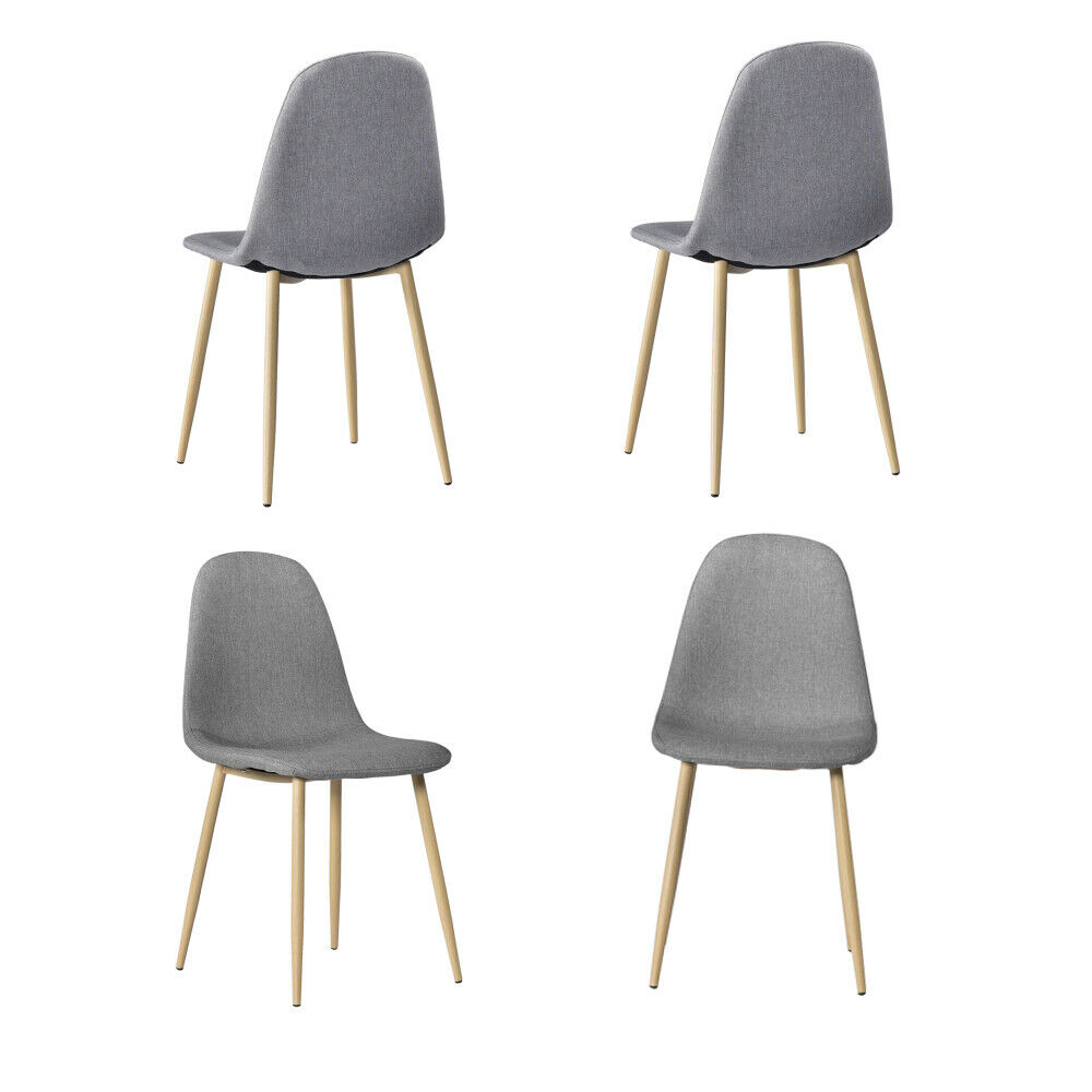 4pcs Simple Dining Chair Solid Wood Foot Padded Plastic Chai