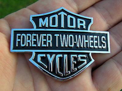 FOREVER TWO WHEELS MOTORCYCLE EMBLEM Metal Badge *NEW* FTW BIKER BIKE
