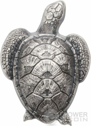 SEA TURTLE Shaped Silver Coin 10$ Palau 2017