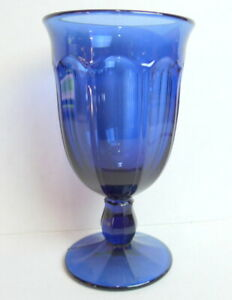Blue-Glass-Goblet-Libbey-Tea-Water-Stemware-Gibraltar