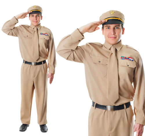 Mens Ww2 Army General Uniform Fancy Dress Costume World War Soldier Adult Outfit
