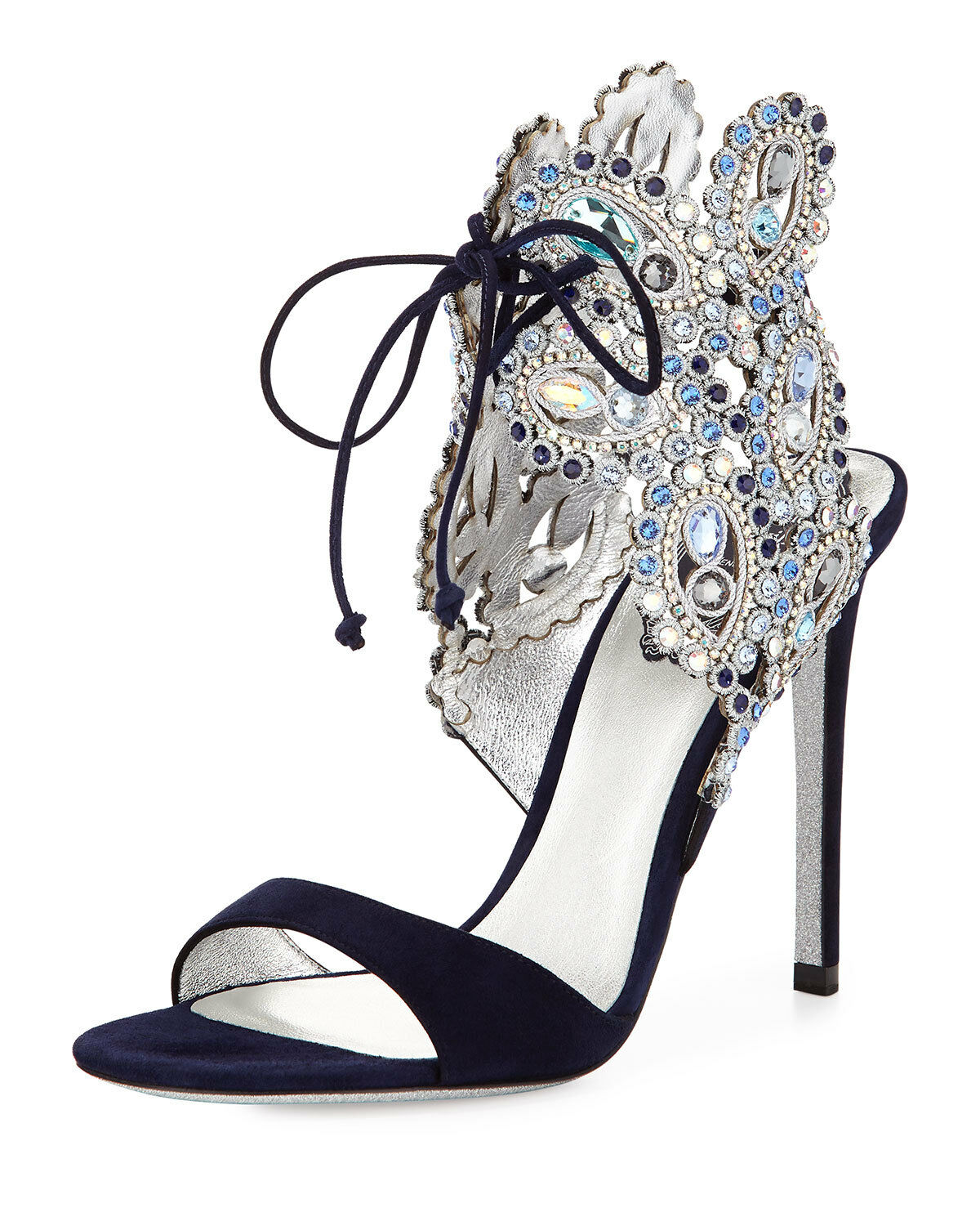 Rene Caovilla with Swarovski Crystals Ankle-Tie Evening Heels, Navy Blue sz 8.5