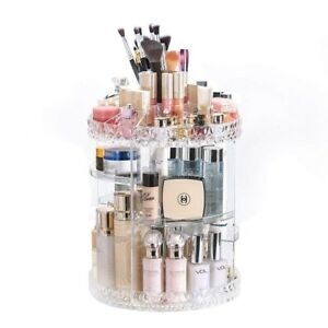78a2f8e09a31 Details about Rotating Makeup Organizer Countertop Bathroom 360Degree  Acrylic Cosmetic Storage