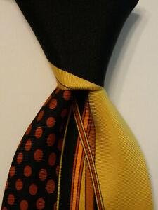 VITALIANO-PANCALDI-Men-039-s-Silk-Necktie-ITALY-Luxury-Geometric-Black-Yellow-GUC
