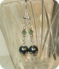 made w SWAROVSKI Green Crystal and Green Pearl Element Earrings  silver accents