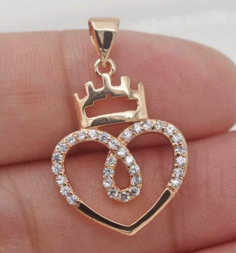 Hollow Heart Crown Teardrop Round Clear Zircon Pageant Pendant 18K Gold Filled