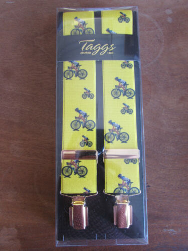 TAGGS YELLOW WITH CYCLIST ELASTICATED CLIP END BRACES GOLD COLOURED FITTINGS