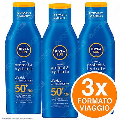 3x 100ml - NIVEA SUN Latte Solare Protect & Hydrate Protezione Resistente Acqua