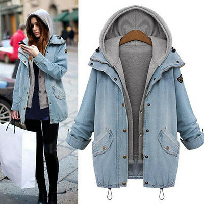 Plus Size New Womens Hoddie Hooded Denim Jeans Casual Long Coat Overcoat + Vest