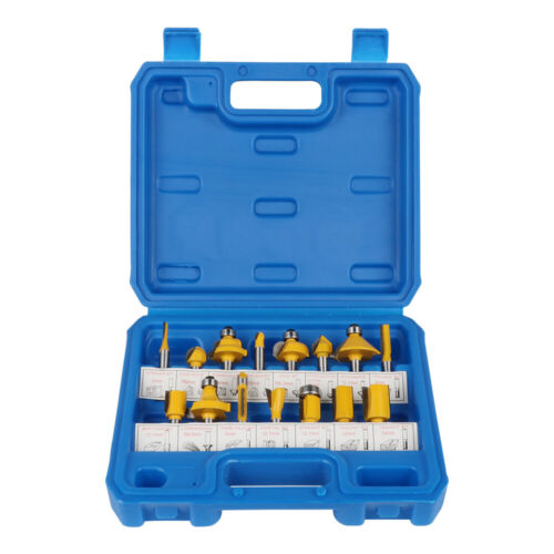 """15Pcs Router Bit Set Milling Drill Bits Cutter Tool For Woodworking 1//4/"""" Shank"""