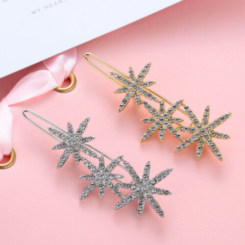 Fashion Women Hair Clips Rhinestones Snowflake Hairpins Barrette Bridal Headwear