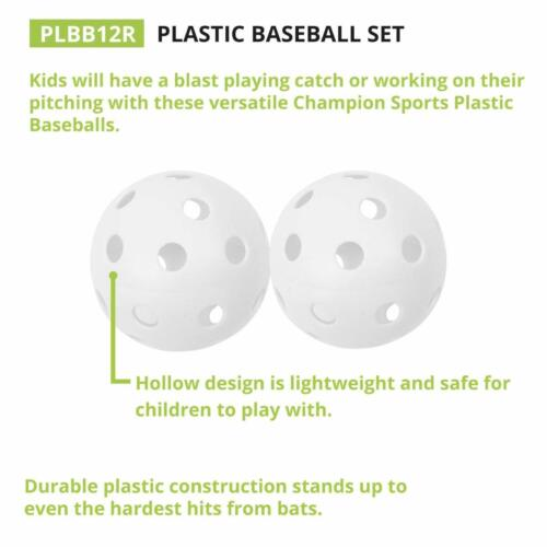 """Champion Sports Dozen Pack 12 White Plastic 9/"""" Official /""""Whiffle/"""" Baseballs"""