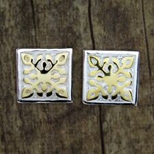 Hawaiian Genuine 925 Sterling Silver Square Quilt Post Earrings # SE40904
