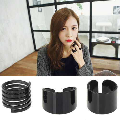3x Fashion Ring Set Black Stack Plain Above Knuckle Ring Open Band Midi Rings HF