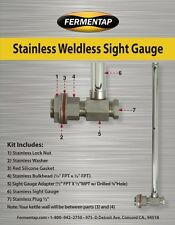 "11"" Sight Glass Stainless Steel Weldless Homebrewing kettle / Sanke Keggle Gauge"