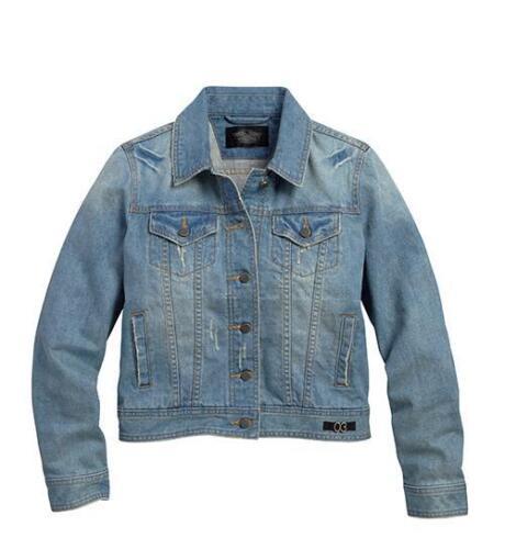 Harley-Davidson GENUINE Womens Limited Edition Blue Crop Denim Jacket NEW W//TAG