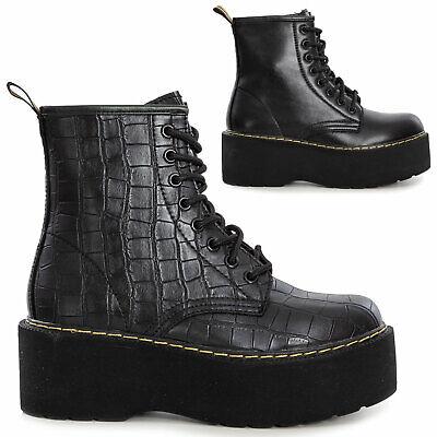 Detalles de Botas Militares Mujer Botines Zapatos Plataforma Motociclista Toocool MB681 5A