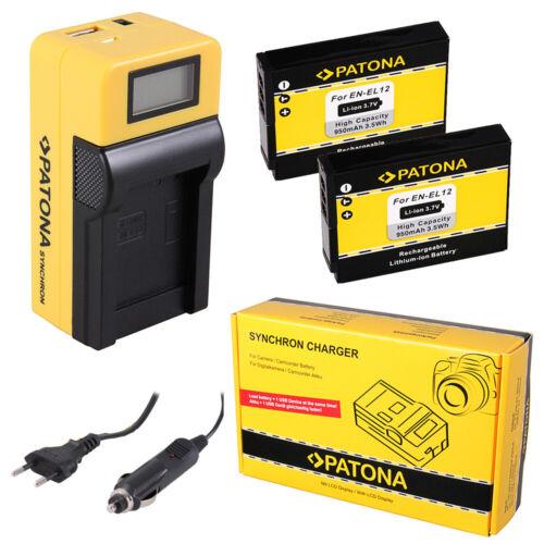 2x Batteria Patona caricabatteria Synchron LCD USB per Nikon Coolpix S9900