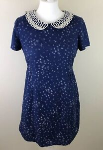 Boden-Women-s-1940s-50s-Style-rockabilly-Land-Girl-Tea-Dress-Collar-Blue-UK-10