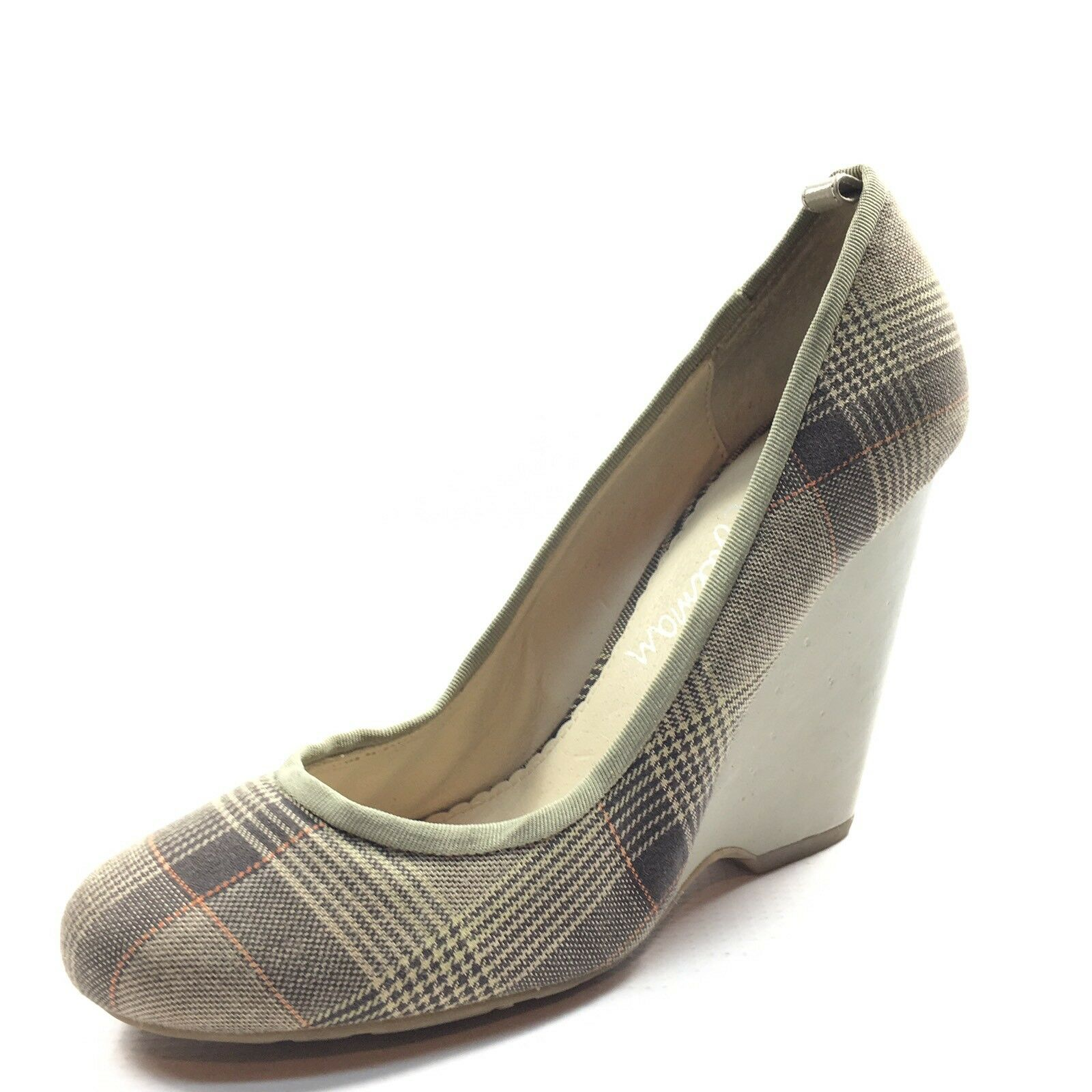 Sam Edelman Taupe Plaid Fabric Wedge Pumps Women's Size 6.5 M