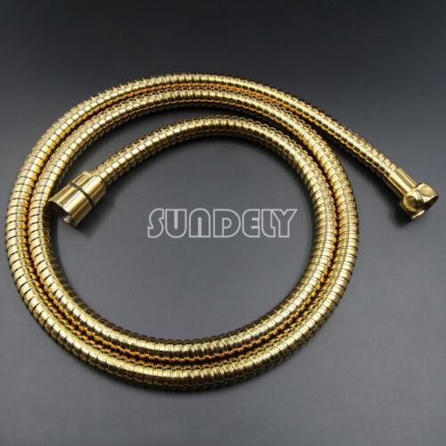Modern Gold Shower Head Round Bathroom Hand Heldset and 1.5m Hose Set
