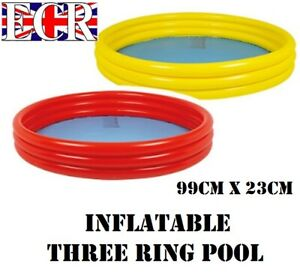 NEW-INFLATABLE-GARDEN-THREE-RING-POOL-RED-OR-YELLOW-99cm-diam-x-23cm-height