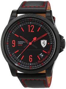 Ferrari-Men-039-s-830271-Formula-Italia-44mm-Black-IP-Leather-Watch-0830271
