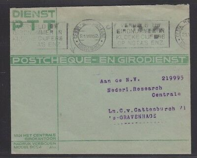 Europe Amicable Netherlands 1952 Postcheque Cover Gravenhage Slogan Cancel Drip-Dry