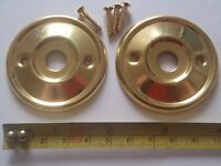 2 x 52mm DIAMETER ANTIQUE STYLE BRASS DOOR KNOB BACK PLATE / ROSES RIM LOCK ETC.