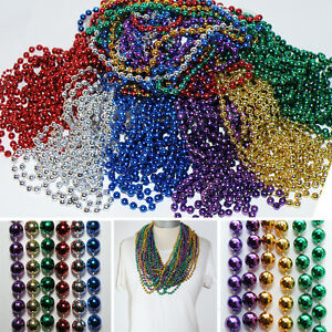 Perlen Ketten * PARTY-SET 60stk * KUGEL Karneval MARDIGRAS Farbwahl SPRING BREAK