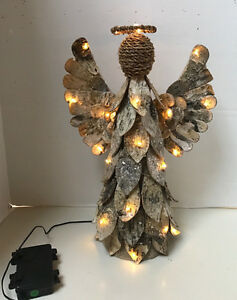 Pottery Barn Lighted Birch Angel Christmas Tree Topper With Box Tree