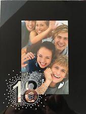 "Black Glass Photo Frame 4"" x 6"" -18 Birthday / Anniversary: New"
