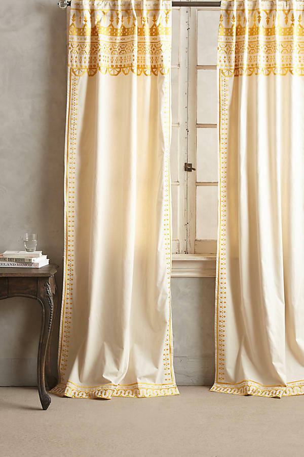 NEW ANTHROPOLOGIE Gold ARAVALLI EMBROIDErot CURTAIN WINDOW PANEL 42  X 84