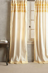 NEW-ANTHROPOLOGIE-GOLD-ARAVALLI-EMBROIDERED-CURTAIN-WINDOW-PANEL-42-034-X-84-034