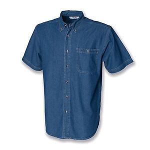 Jeans-Chemise-Manches-Courtes-Manches-Longues-Col-Bouton-Poche-Bouton-Hommes