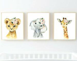 3 animales de la selva Rosa Flores Vivero impresiones León Jirafa Elefante Blush 621-A