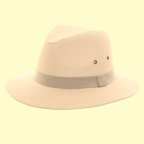 Da Uomo 100/% COTONE Fedora BIG Orlo del Cappello Da Sole Verde//Blu a Righe Band eccellente UPF