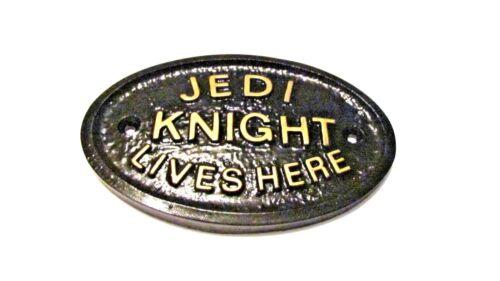 Jedi Knight Mora Aqui Casa Quarto Porta Placa de parede ou sinal de Jardim Novo em folha