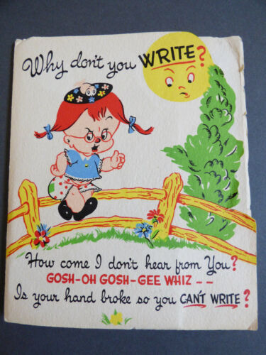 1949 VTG Unused Barker Dog card With Mean Surprise Why dont You Write? Snaps
