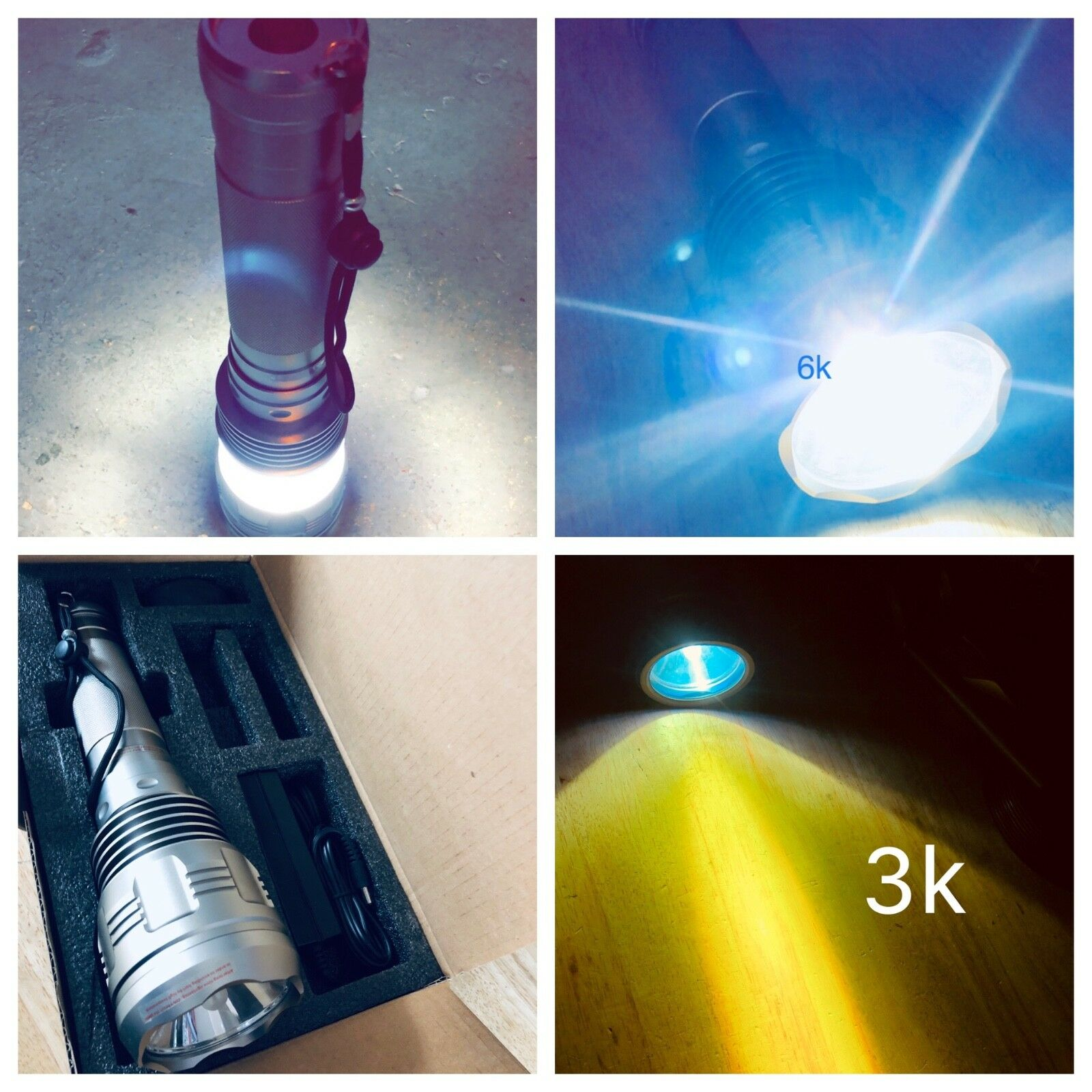 HID Xenon led Torch Flashlight Outdoor 8000 Lumens streetlight match snap on