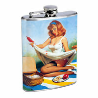 Flask 8oz Stainless Steel Classic Vintage Model Pin Up Girl Design-089 Whiskey